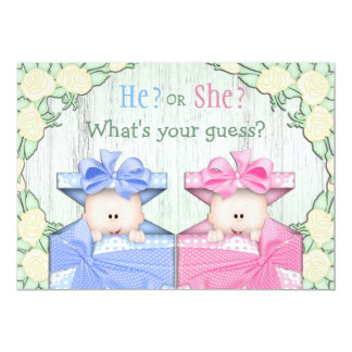 """Cute Baby Gender Reveal Party Babies in Boxes 5"""" X 7"""" Invitation Card"""
