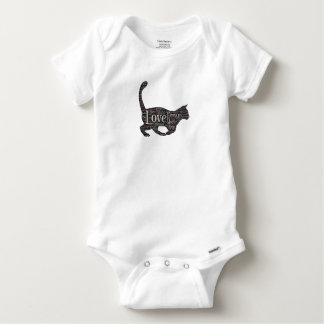 Cute Baby Gerber Cotton T-Shirt with black cat