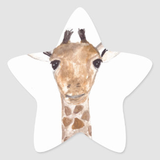 Cute baby giraffe animal star sticker