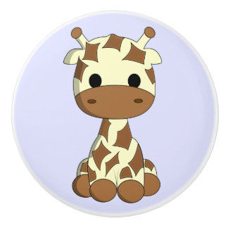 Cute baby giraffe cartoon kids ceramic knob