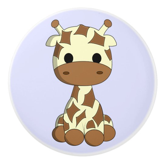 Cute baby giraffe cartoon kids ceramic knob