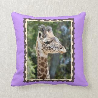 Cute Baby Giraffe, framed in brown on light purple Throw Pillow