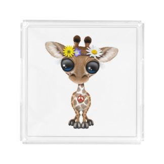 Cute Baby Giraffe Hippie Acrylic Tray