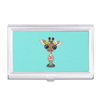 Cute Baby Giraffe Hippie Business Card Holder