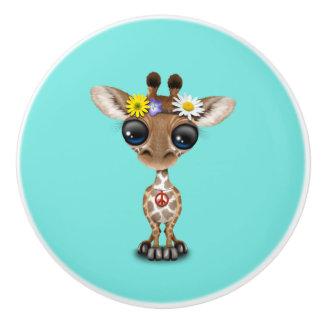 Cute Baby Giraffe Hippie Ceramic Knob