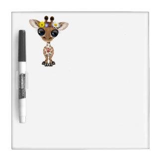 Cute Baby Giraffe Hippie Dry Erase Board