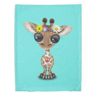 Cute Baby Giraffe Hippie Duvet Cover