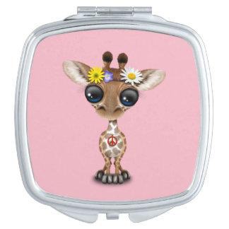 Cute Baby Giraffe Hippie Makeup Mirrors