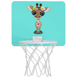 Cute Baby Giraffe Hippie Mini Basketball Hoop