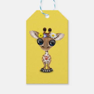 Cute Baby Giraffe Hippie Pack Of Gift Tags
