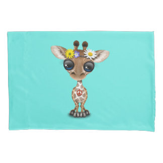 Cute Baby Giraffe Hippie Pillowcase