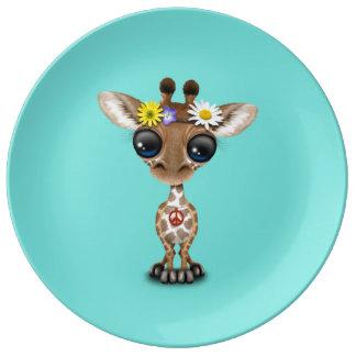 Cute Baby Giraffe Hippie Plate