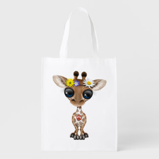 Cute Baby Giraffe Hippie Reusable Grocery Bag