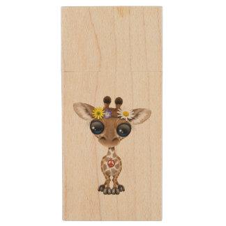 Cute Baby Giraffe Hippie Wood USB 3.0 Flash Drive