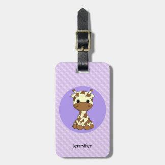 Cute baby giraffe kawaii cartoon girl luggage tag