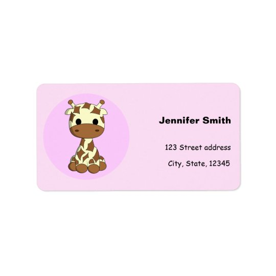 Cute baby giraffe kawaii cartoon girls label