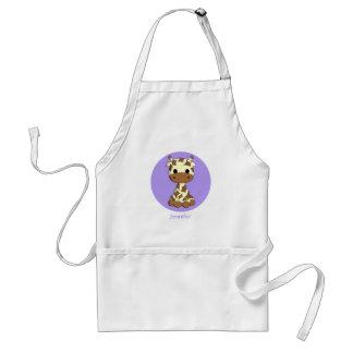 Cute baby giraffe kawaii cartoon name apron