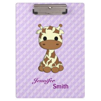 Cute baby giraffe kawaii cartoon name girls clipboards