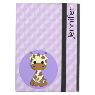 Cute baby giraffe kawaii cartoon name girls iPad air cover
