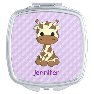 Cute baby giraffe kawaii cartoon name mirror