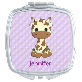 Cute baby giraffe kawaii cartoon name mirror compact mirrors