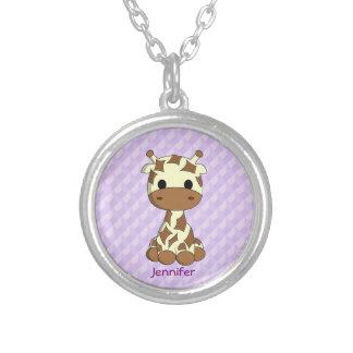 Cute baby giraffe kawaii cartoon name necklace