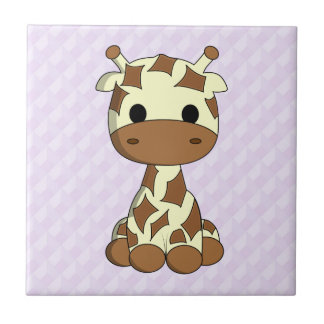 Cute baby giraffe kawaii cartoon nursery tile