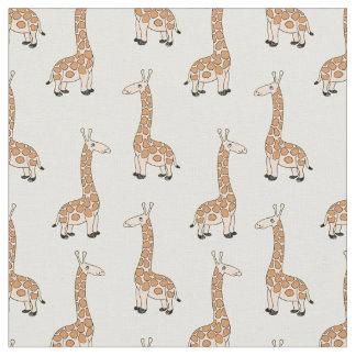 Cute baby giraffe on white fabric