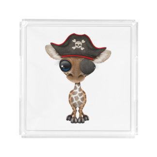 Cute Baby Giraffe Pirate Acrylic Tray