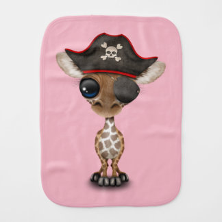 Cute Baby Giraffe Pirate Burp Cloth