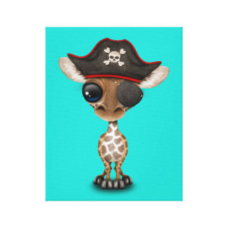 Cute Baby Giraffe Pirate Canvas Print