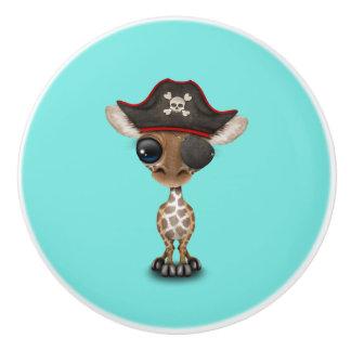 Cute Baby Giraffe Pirate Ceramic Knob