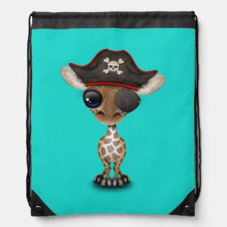 Cute Baby Giraffe Pirate Drawstring Bag