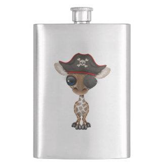 Cute Baby Giraffe Pirate Hip Flask