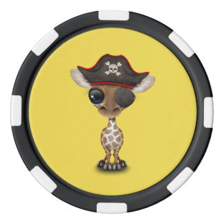 Cute Baby Giraffe Pirate Poker Chips