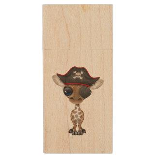 Cute Baby Giraffe Pirate Wood USB 3.0 Flash Drive