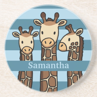 Cute Baby Giraffe Trio, Add Child's Name Coaster