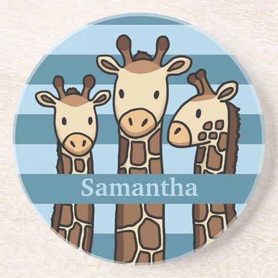 Cute Baby Giraffe Trio, Add Child's Name Coaster