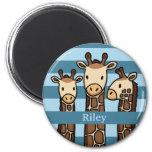 Cute Baby Giraffe Trio, Add Child's Name Refrigerator Magnet