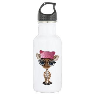 Cute Baby Giraffe Wearing Pussy Hat 532 Ml Water Bottle