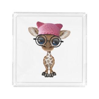 Cute Baby Giraffe Wearing Pussy Hat Acrylic Tray