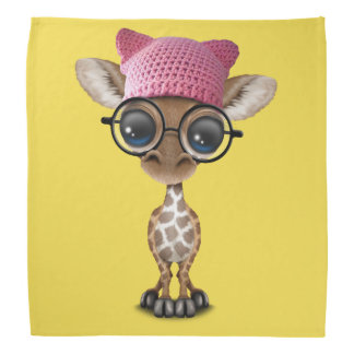 Cute Baby Giraffe Wearing Pussy Hat Bandana
