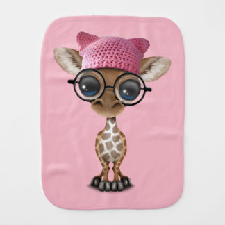 Cute Baby Giraffe Wearing Pussy Hat Burp Cloth