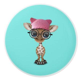 Cute Baby Giraffe Wearing Pussy Hat Ceramic Knob
