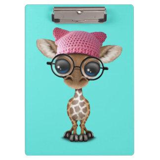 Cute Baby Giraffe Wearing Pussy Hat Clipboard
