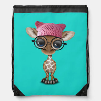 Cute Baby Giraffe Wearing Pussy Hat Drawstring Bag