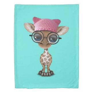 Cute Baby Giraffe Wearing Pussy Hat Duvet Cover