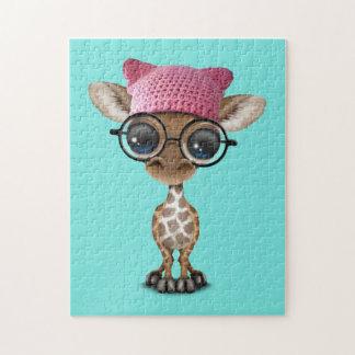Cute Baby Giraffe Wearing Pussy Hat Jigsaw Puzzle