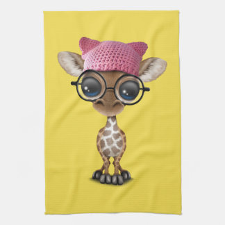 Cute Baby Giraffe Wearing Pussy Hat Kitchen Towel