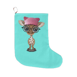 Cute Baby Giraffe Wearing Pussy Hat Large Christmas Stocking